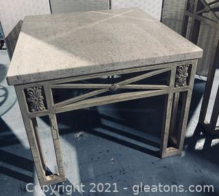 Travertine and Metal Side Table (See Note)