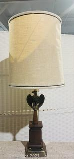Brass Eagle Wooden Table Lamp