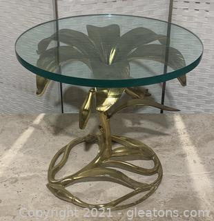 Arthur Court Hollywood Regency Gilded Lily Side Table