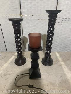 Three Piece Candleholder and Lamp Lot