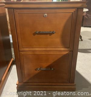 Wooden Filing Cabinet with Key