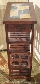 Stone Inlay Wooden Kitchen Cart