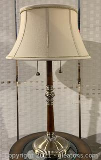 Brushed Brass Inspired Double Pull Chain Table Lamp