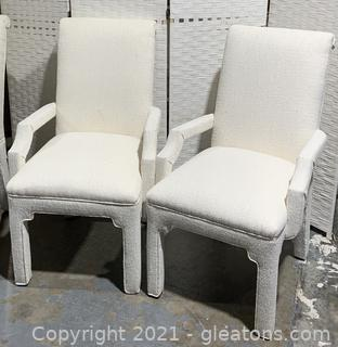 Bone White Pair of Dining Arm Chairs