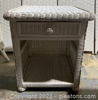 Wicker End Table With Drawer I
