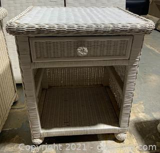 Wicker End Table With Drawer II