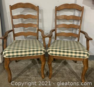 Pair of Vargas Gingham Ladder Back Dining Arm Chairs