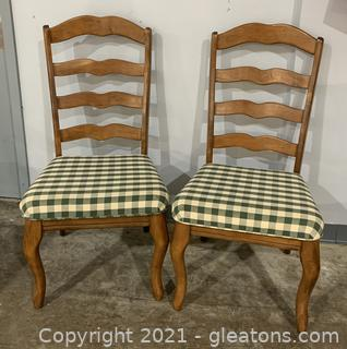 Pair of Vargas Gingham Ladder Back Dining Side Chairs