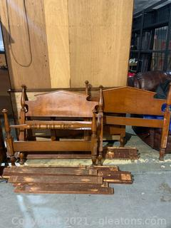 Two Tiger Maple Twin Bed Frames