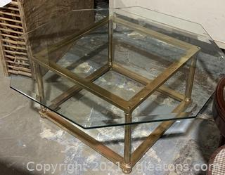 Octagonal Brass Base and Beveled Glass Top Coffee Table