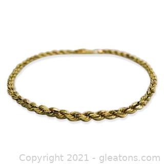 Nice Rope Chain Bracelet in 14kt Yellow Gold