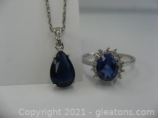 Imitation Sapphire and CZ Necklace and Ring in Sterling Silver