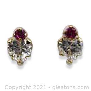 Imitation Ruby and CZ Earrings in 10kt Yellow Gold