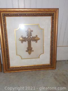 Beautifully Framed Gold Shadow Box Cross (B)
