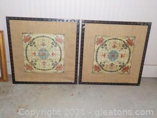 Pair of Farmhouse Wall Art Burlap Framed Prints