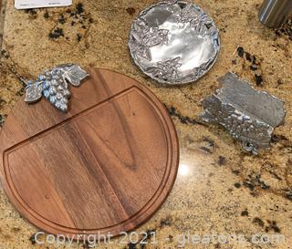 Three Piece Pewter Serving/Kitchen Ware
