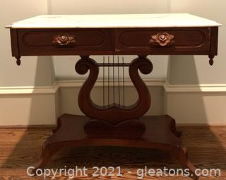 Marble Top Carved Mahogany Lyre Entry Table