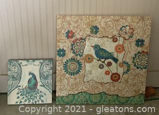 2 Bird Themed Canvas Wall Art Pieces