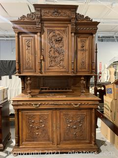 Heavily Hand Carved Antique Cabinet with Key