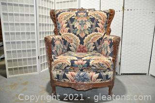 Hand Carved Mahogany Wing Back Chair