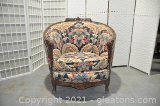 Hand Carved Mahogany Barrel Back Chair