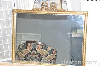 Antique French Gilt Wood Ribbon Mirror