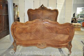 Hand Carved Antique Walnut French Bed