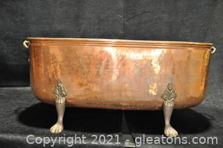 Copper Log Bin with Brass Claw Feet
