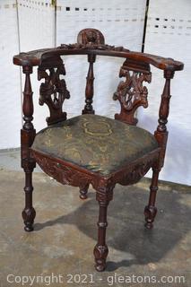 Renaissance Hand Carved Walnut Corner Chair