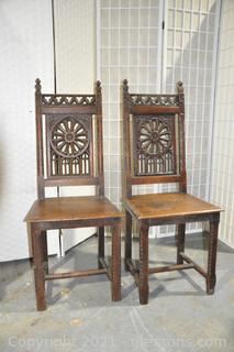 French Gothic Oak Dining Chairs