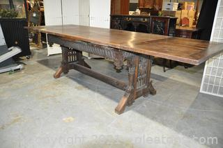 French Gothic Oak Dining Table
