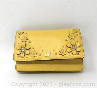 Yellow Michael Kors Wallet/Phone Crossbody Bag