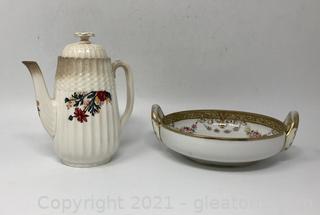 Spode Coffee Pot and Nippon China Bowl Lot