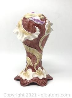 White and Burgundy Majolica Vase