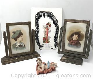 Wooden Swivel Frames, Glass Victorian Dress Trim and Porcelain Child Figurine
