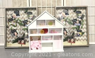 Charming House Shaped Shadow Box and 2 Matching Shadow Box Frames