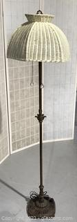 Charming Brass and Iron Floor Lamp with White Wicker French Bell Lampshade