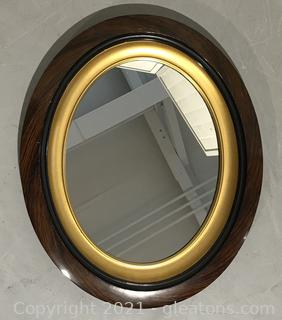 Wooden Oval Mirror with Gold Trim