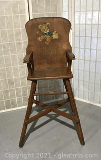 Adorable Child's Wooden High Chair from the 1950's