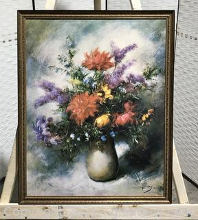 """French Floral Still Life Print on Canvas by P. Sorel """"Sunflower"""" 1960"""