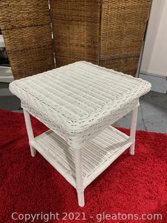 White 2 Tier Wicker Side Table