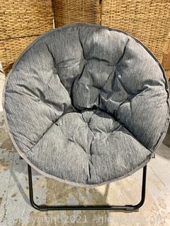 Gray Fabric Saucer Chair