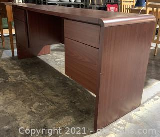 Cherry Stained Four Drawer Desk
