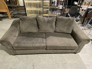 American Furniture Gray Corduroy Three Cushion Couch