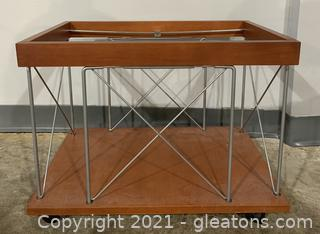 Wire Frame End Table on Wheels - Needs New Glass Top