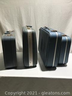 Collection of Blue Vintage Suitcases (4)