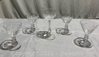 Five Piece Cut Crystal Glasses