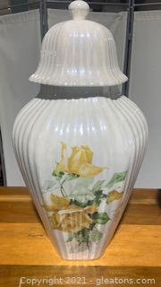 Opalescent Decorative Urn with Yellow Roses