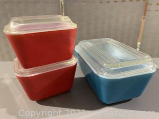 Three Vintage Pyrex Refrigerator Dishes