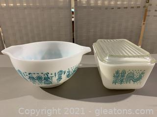 Two Vintage Butter Print Pyrex Dishes